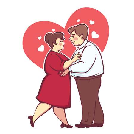 102058288 stock vector overweight romantic couple happy cartoon vector man and woman dancing on heart background